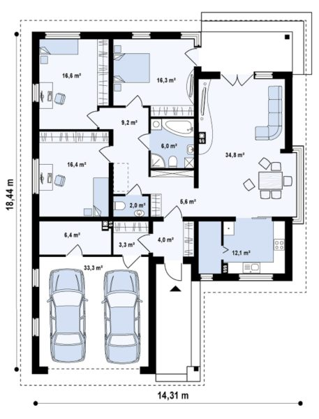 План-схема проекта «Z7» включает в себя помимо комнат стандартного назначения ещё и встроенный гараж для двух автомобилей