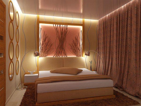 Плотные шторы, разбавленные грамотной подсветкой.