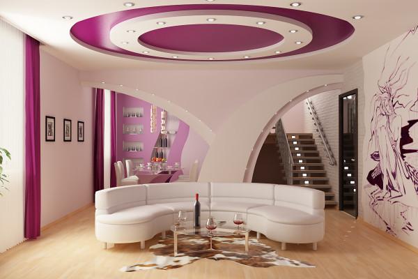 Потолок может стать центром притяжения всего дизайна комнаты.