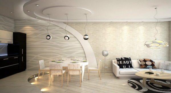 Приборы освещения обычно используют как дополнительный способ зонирования пространства