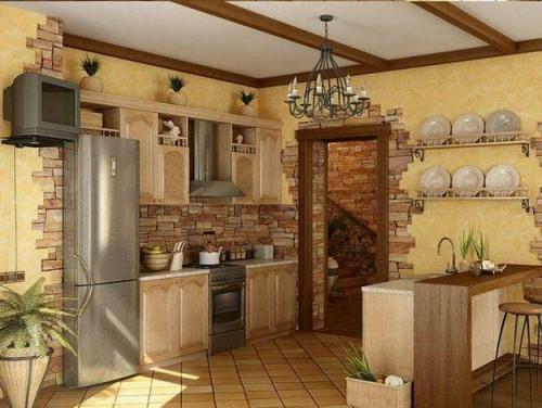 Применение декоративного камня при оформлении кухни.