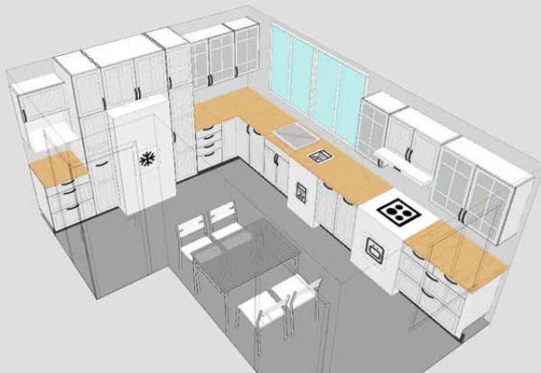 Пример 3D-изображения кухни одной из компьютерных программ по созданию дизайна