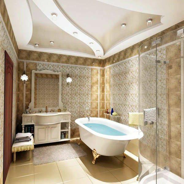 Пример дизайна комбинированного потолка в ванной комнате