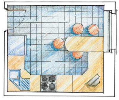 Пример эскиза для организации пространства кухни.