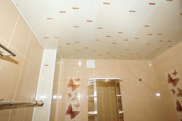 Пример использования пластиковых панелей на потолке