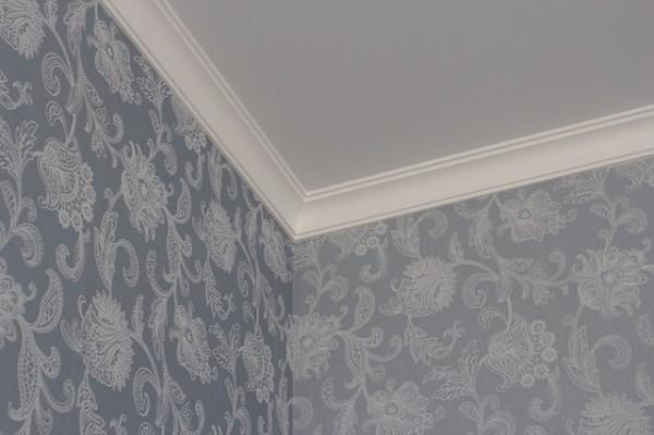 Пример использования плинтусов на потолке