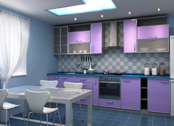 Пример однорядной планировки на просторной кухне.