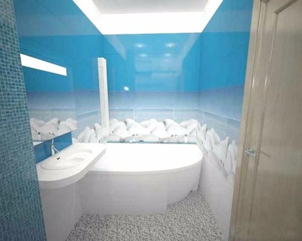 Пример оформления маленькой ванны в морском стиле