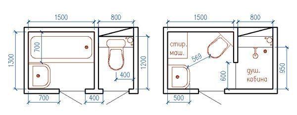 Пример перепланировки ванной комнаты с переносом душевой кабинки в туалет