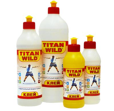 Примеры разных ёмкостей клея «Титан Вилд»