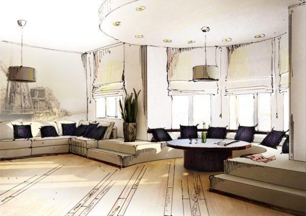 Проект эркера в гостиной. Одинаковые светильники, подушки и диван, переходящий в подиум объединяют пространства выступа и комнаты