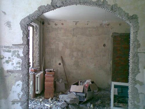 Проем для арки на входе в кухню