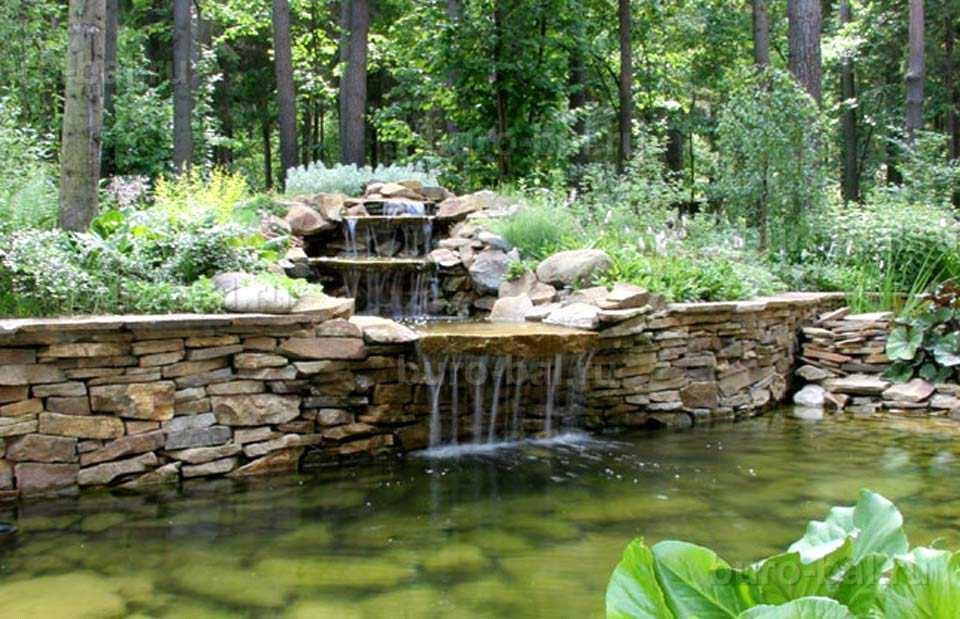 Пруд с водопадом – популярная идея ландшафтного дизайна