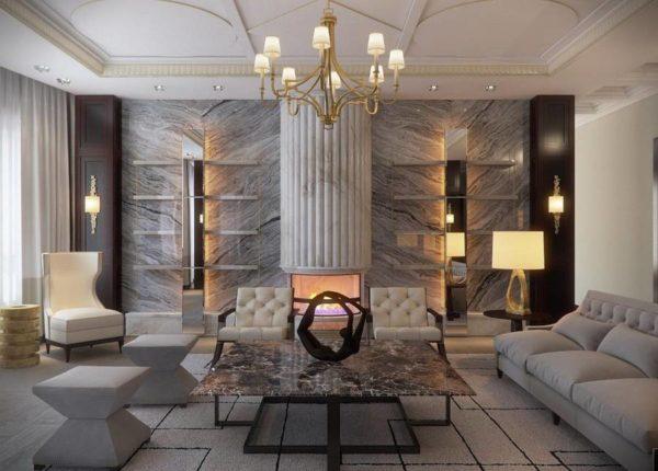 Прямые линии и роскошная отделка в сочетании с фальшь камином говорят о принадлежности интерьера к стилю ар-деко.