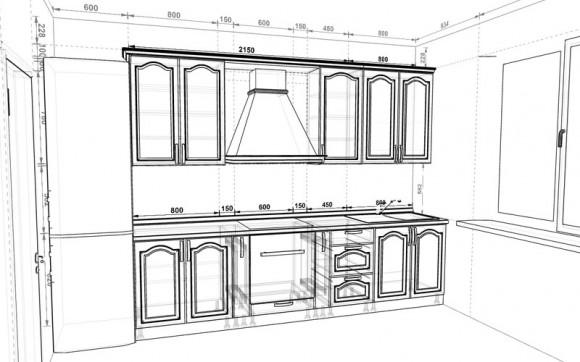 Рабочий чертеж кухни - 3д дизайн которой вы видели на первой картинке
