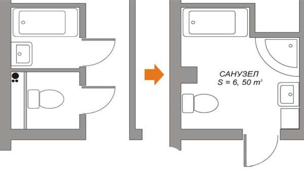 Расширять санузел можно так, чтобы он не располагался над жилой комнатой нижних соседей.