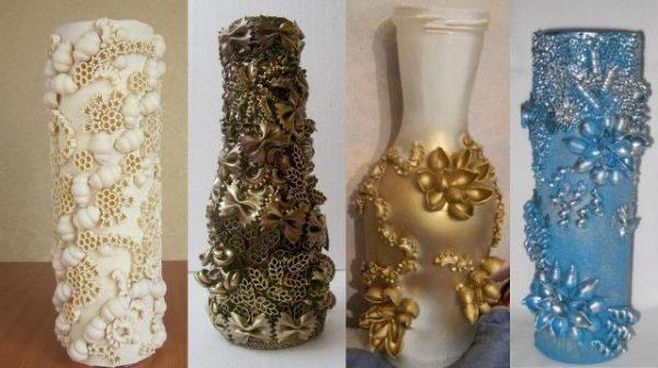 Рассматривая бутылки и вазы, украшенные макаронами, сложно определить, что для декорирования тут применялись продукты питания