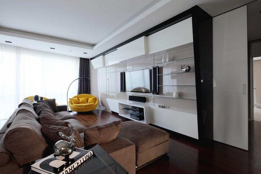 Размещение плазменной панели в квартире-студии