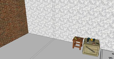 Разметка на полу и стене