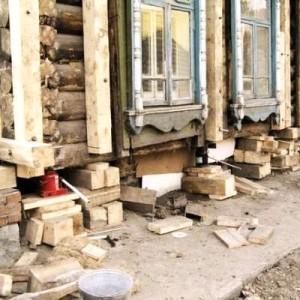 Ремонт фундамента старого деревянного дома