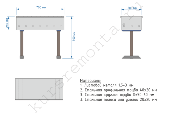 Сборочный чертеж и рекомендуемые размеры для изготовления переносного мангала.