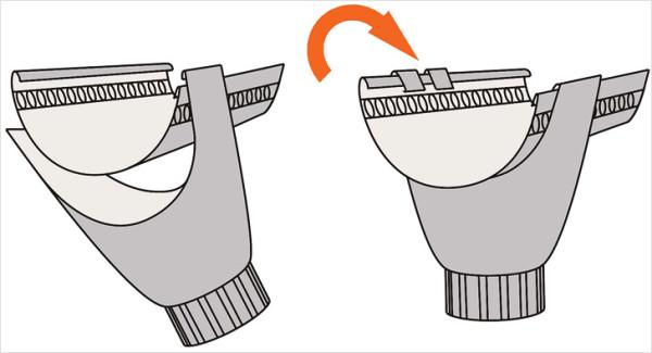 Схема фиксации воронки на желобе.