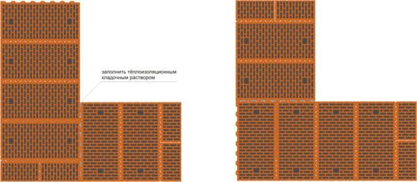 Схема кладки стен с применением крупноформатных блоков