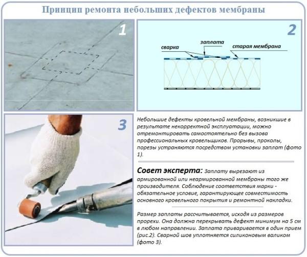 Схема ремонта мембранной кровли