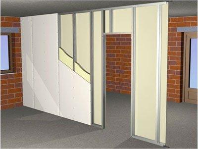 Схематичное изображение гипсокартонного простенка с проемом двери на профильном каркасе