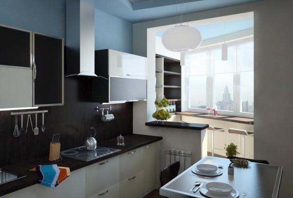 Симпатичный дизайн маленькой кухни, но стандартный