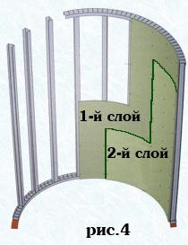 Смещение плит в арочных перегородках