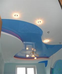 сочетание гипсокартона и натяжных потолков