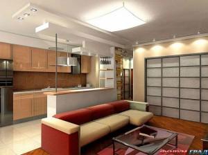 Совмещение зала и кухни с разделением зон барной стойкой