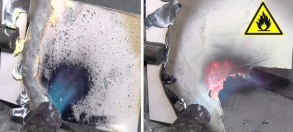 Сравнение горючести материалов в одинаковых условиях: слева — композитная панель, справа — алюминиевый лист 2 мм