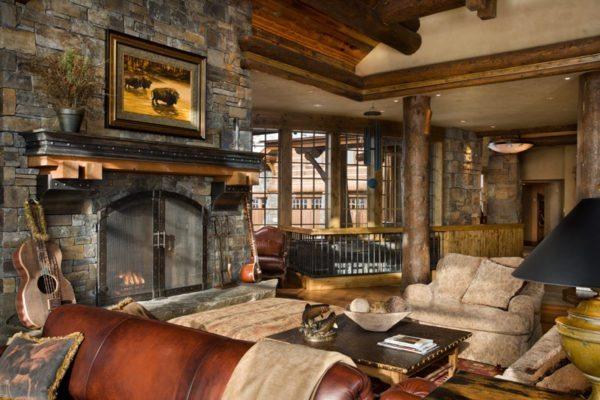 Стиль шале выделяет массивность деталей интерьера и мебели