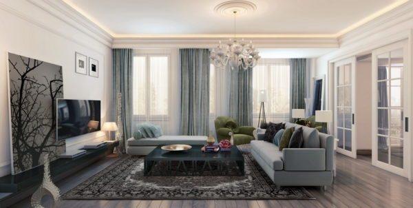 Телевизор и оригинальная картина как центральные элементы современного интерьера.