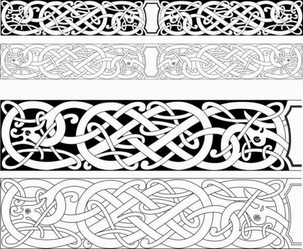 Темы и сюжеты для декоративной обработки могут быть самыми разными — например, такая кельтская вязь