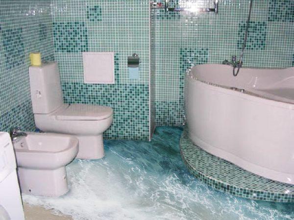 Трехмерный пол может превратить ванну комнату в морской берег