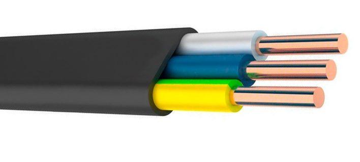 Трехжильный однопроволочный провод ВВГ. Цветовая маркировка жил поможет вам найти фазу, ноль и землю без мультиметра.