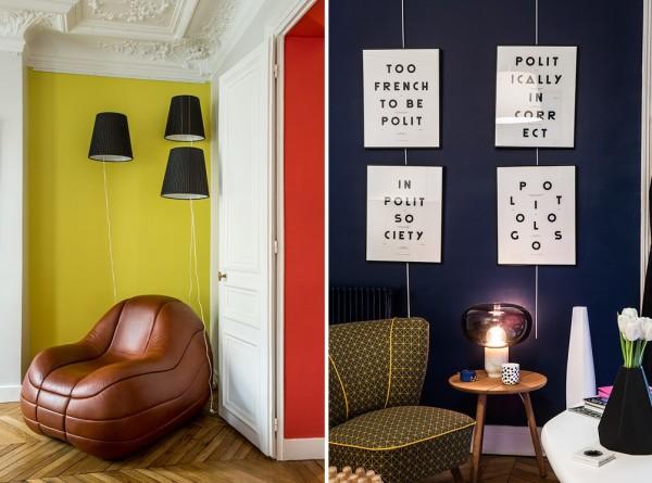 Тут – синий, а там – красный – понятие яркого интерьера по-французски