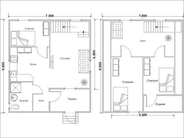 Увеличенная до 94 м2 суммарная площадь первого и мансардного этажей позволила разместить третью спальню.