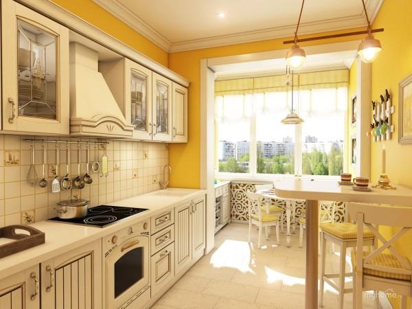 Уютная современная кухня в стиле прованс, совмещенная с лоджией.