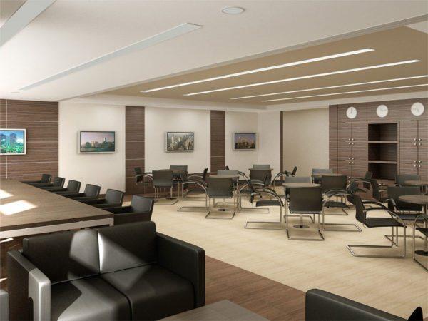 В большом просторном кабинете хорошо смотрится тёмная мебель, которая визуально сжимает пространство и делает помещение более уютным