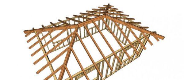 Вальмовая стропильная система имеет сложную конструкцию