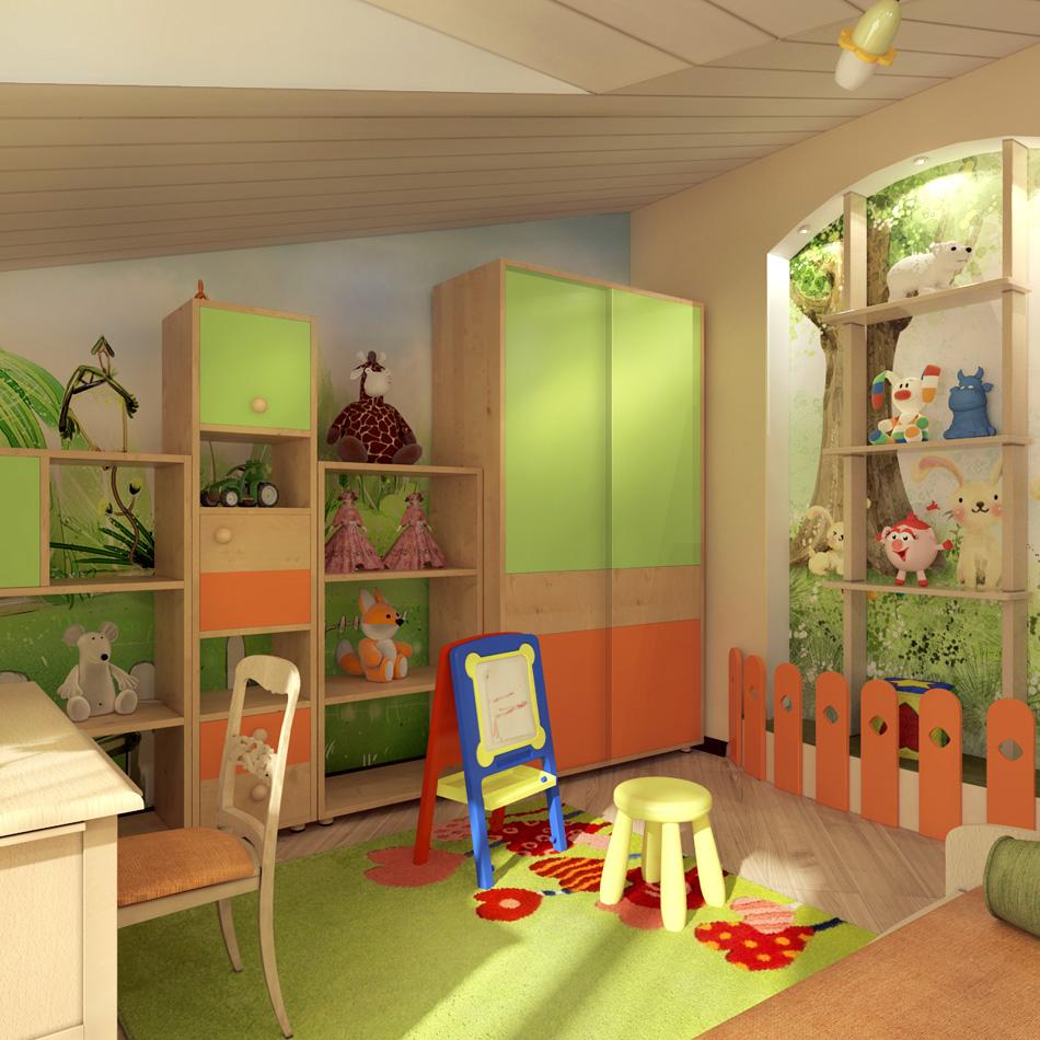 Вариант оформления мансардной детской для умеренно активного ребенка