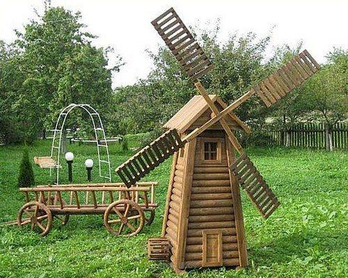 Ветряные мельницы — отличный способ декорирования дачного ландшафта