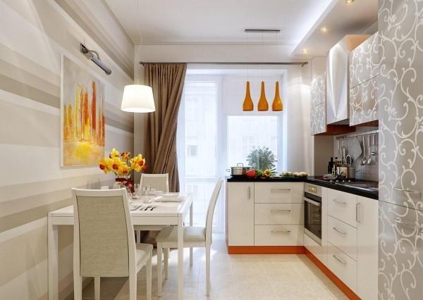 Яркий цоколь, светильники и картина на стене преображают кухню