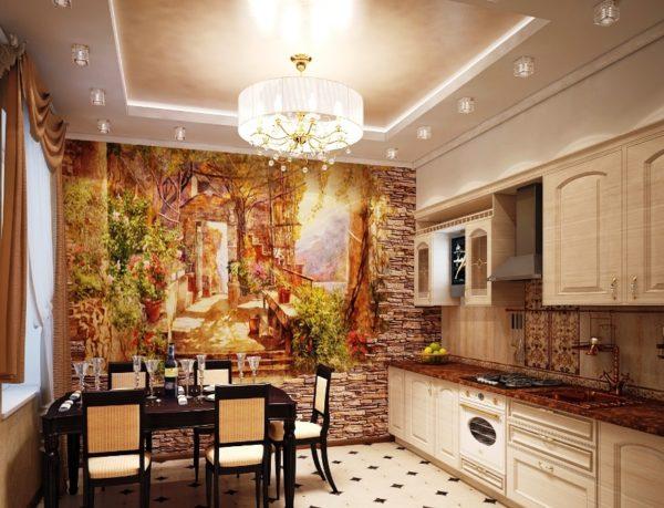 Яркое панно — главный элемент декора кухни.