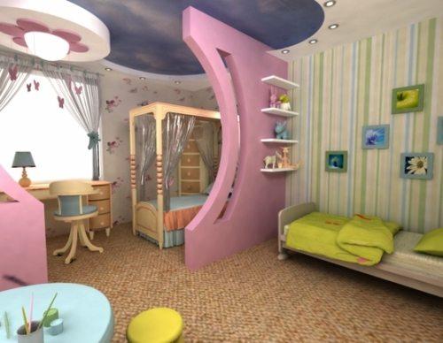 Зонирование детской позволит малышам чувствовать себя в своей комнате более комфортно и уютно